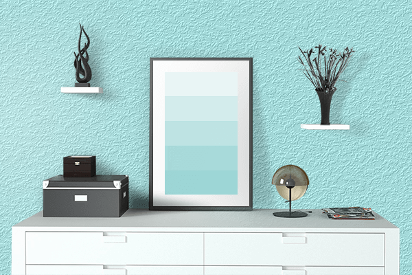 Pretty Photo frame on Celeste color drawing room interior textured wall