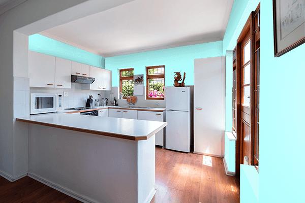 Pretty Photo frame on Celeste color kitchen interior wall color