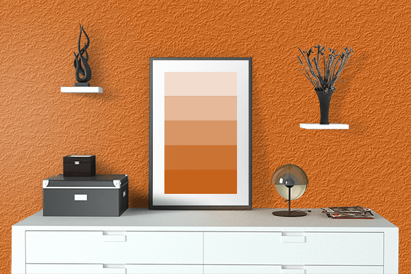 Pretty Photo frame on Spanish Orange color drawing room interior textured wall