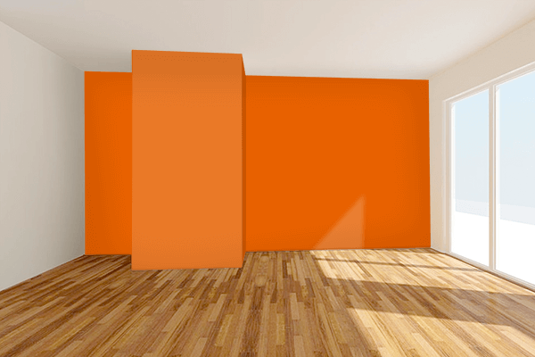 Pretty Photo frame on Spanish Orange color Living room wal color