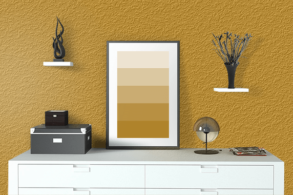 Pretty Photo frame on Golden Yellow (Pantone) color drawing room interior textured wall