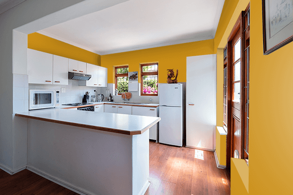 Pretty Photo frame on Golden Yellow (Pantone) color kitchen interior wall color