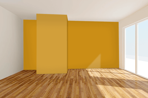 Pretty Photo frame on Golden Yellow (Pantone) color Living room wal color