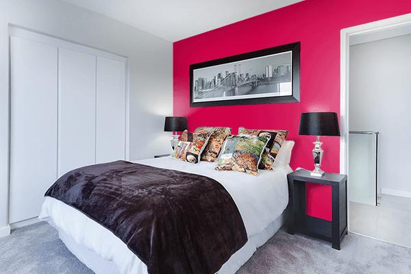 Pretty Photo frame on Spanish Carmine color Bedroom interior wall color