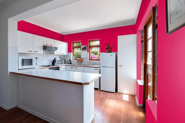 Pretty Photo frame on Spanish Carmine color kitchen interior wall color