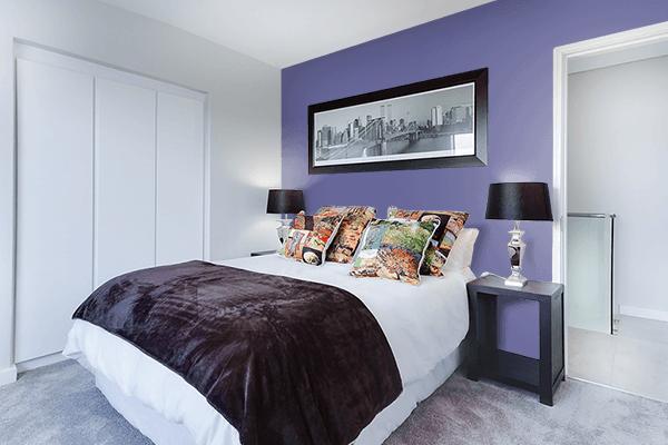 Pretty Photo frame on Dark Blue-Gray color Bedroom interior wall color