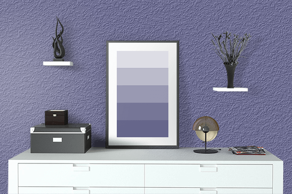 Pretty Photo frame on Dark Blue-Gray color drawing room interior textured wall