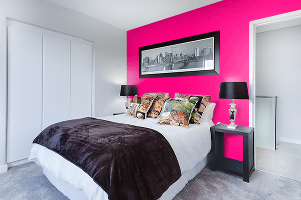 Pretty Photo frame on Bright Pink color Bedroom interior wall color
