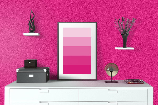 Pretty Photo frame on Bright Pink color drawing room interior textured wall