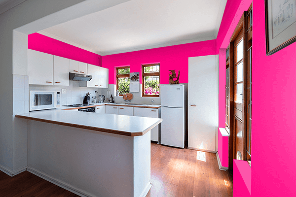Pretty Photo frame on Bright Pink color kitchen interior wall color