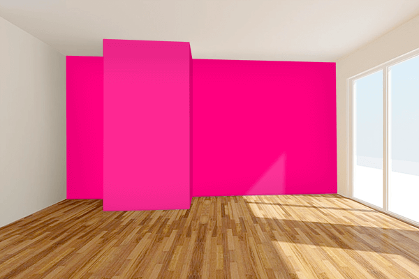 Pretty Photo frame on Bright Pink color Living room wal color