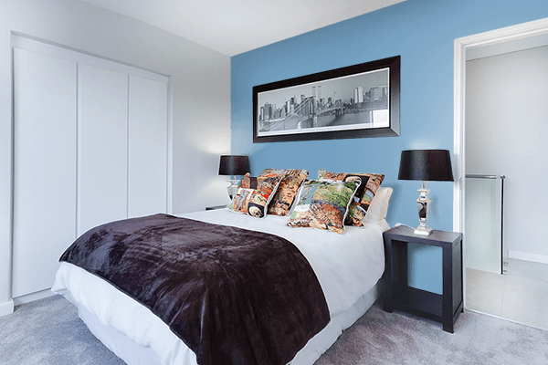 Pretty Photo frame on PRU Blue color Bedroom interior wall color