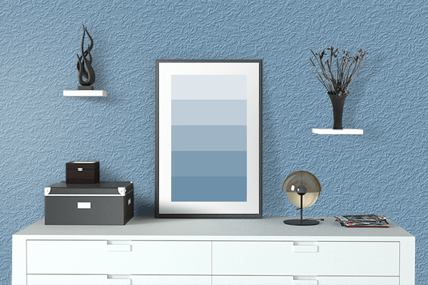 Pretty Photo frame on PRU Blue color drawing room interior textured wall