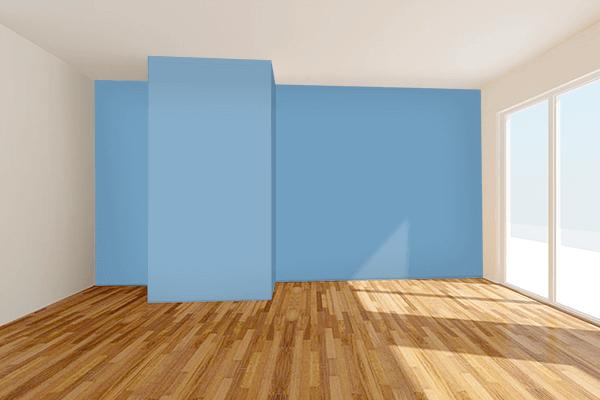 Pretty Photo frame on PRU Blue color Living room wal color