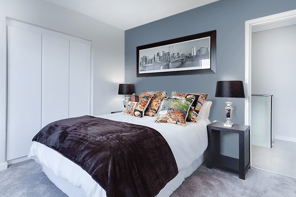 Pretty Photo frame on Slate Gray color Bedroom interior wall color