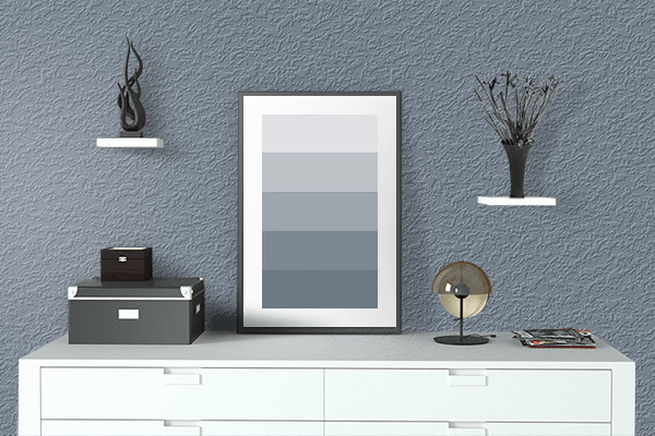 Pretty Photo frame on Slate Gray color drawing room interior textured wall