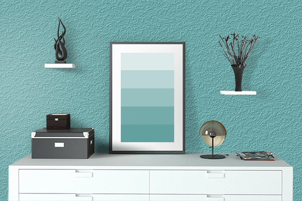 Pretty Photo frame on Pastel Teal color drawing room interior textured wall