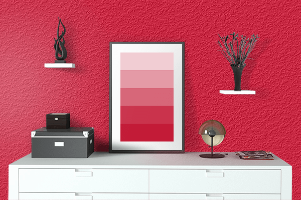 Pretty Photo frame on Spanish Red color drawing room interior textured wall