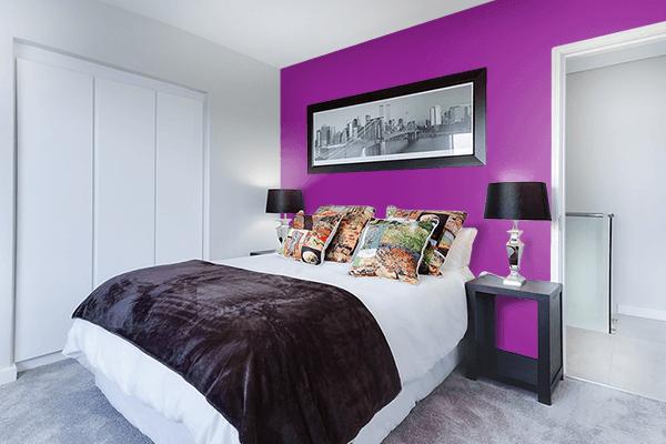 Pretty Photo frame on Vintage Magenta color Bedroom interior wall color