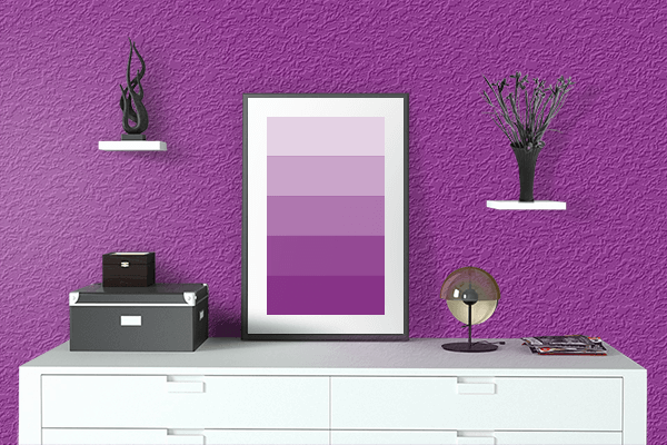 Pretty Photo frame on Vintage Magenta color drawing room interior textured wall