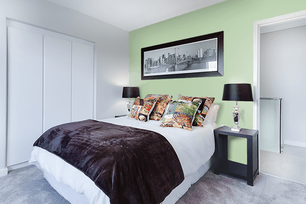 Pretty Photo frame on Pastel Green (RAL) color Bedroom interior wall color