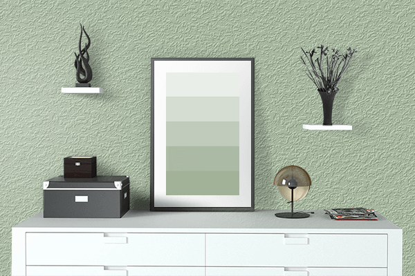 Pretty Photo frame on Pastel Green (RAL) color drawing room interior textured wall