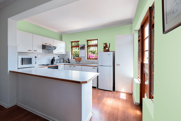 Pretty Photo frame on Pastel Green (RAL) color kitchen interior wall color