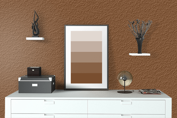 Pretty Photo frame on Russet color drawing room interior textured wall