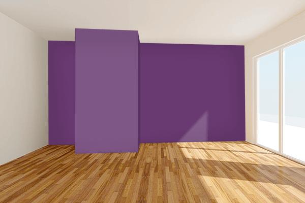 Pretty Photo frame on Vintage Purple color Living room wal color
