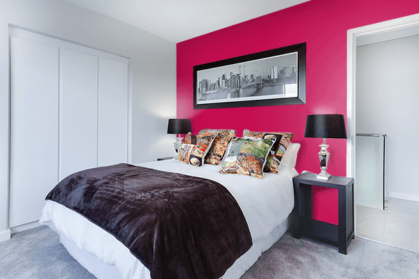 Pretty Photo frame on Pictorial Carmine color Bedroom interior wall color