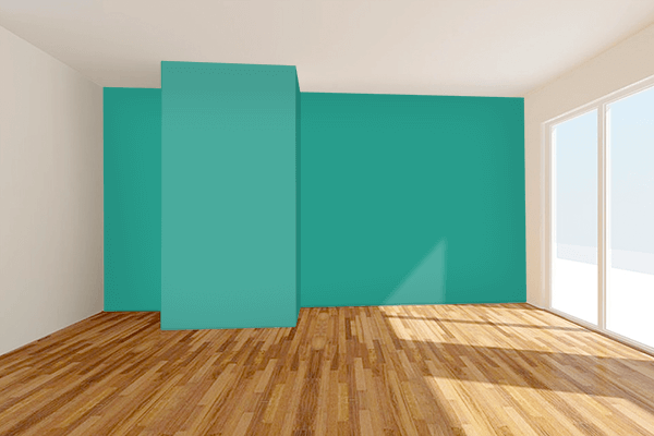 Pretty Photo frame on Dark Aquamarine color Living room wal color