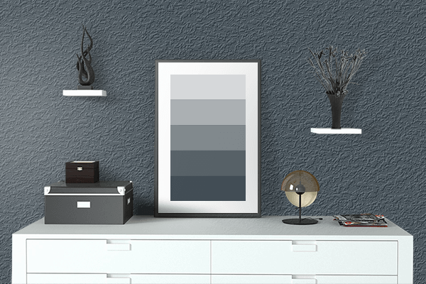 Pretty Photo frame on Charcoal color drawing room interior textured wall