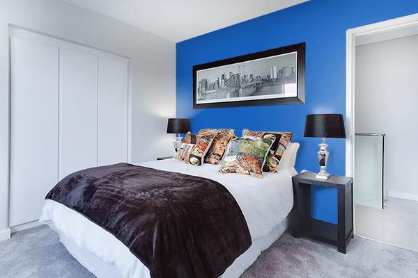 Pretty Photo frame on Denim color Bedroom interior wall color