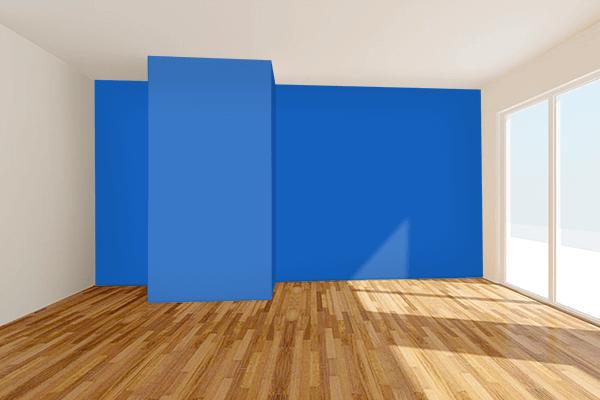 Pretty Photo frame on Denim color Living room wal color