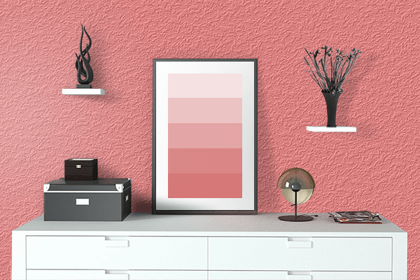 Pretty Photo frame on Light Red color drawing room interior textured wall