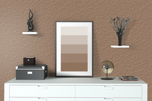 Pretty Photo frame on Chamoisee color drawing room interior textured wall