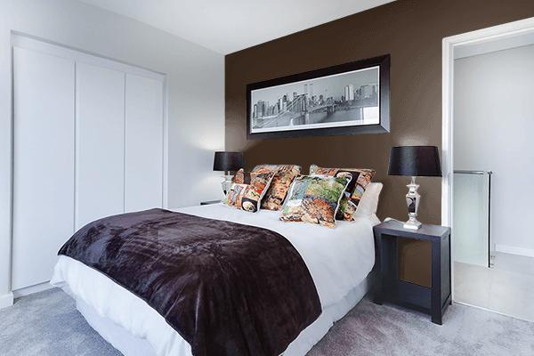 Pretty Photo frame on Bistre color Bedroom interior wall color