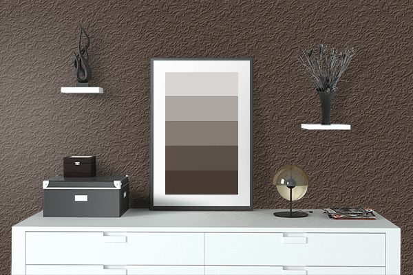 Pretty Photo frame on Bistre color drawing room interior textured wall