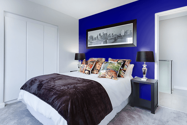 Pretty Photo frame on Navy color Bedroom interior wall color