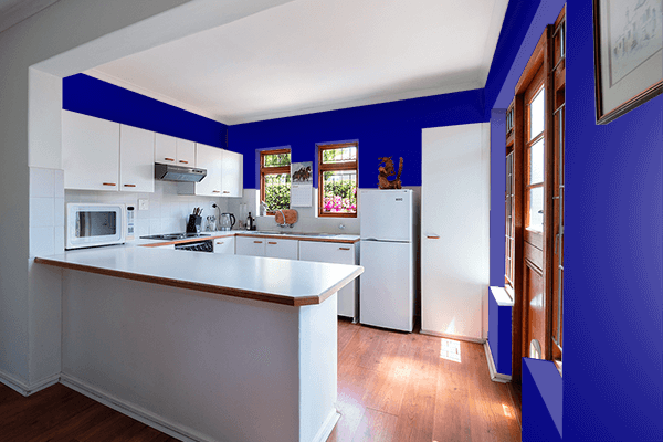 Pretty Photo frame on Navy color kitchen interior wall color