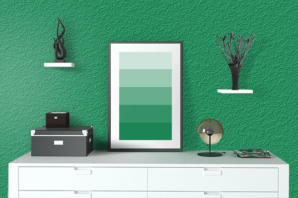Pretty Photo frame on Spanish Green color drawing room interior textured wall