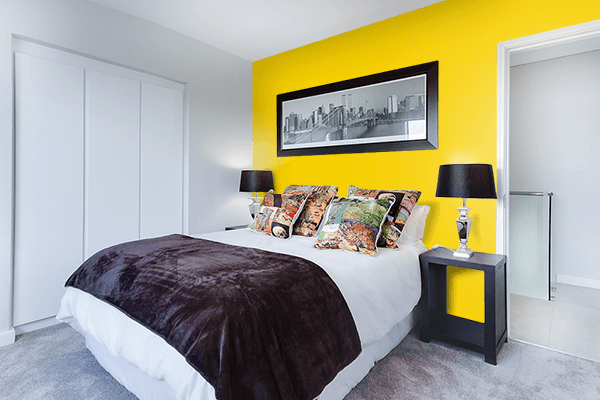 Pretty Photo frame on Empire Yellow color Bedroom interior wall color