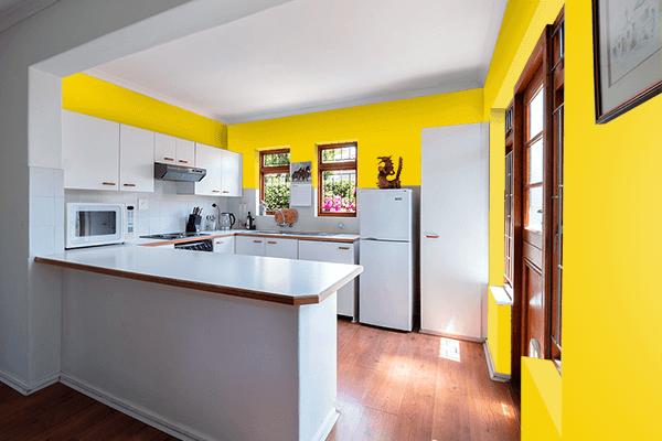 Pretty Photo frame on Empire Yellow color kitchen interior wall color