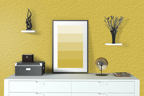Pretty Photo frame on Gold Yellow color drawing room interior textured wall