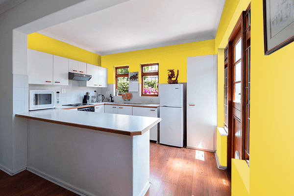 Pretty Photo frame on Gold Yellow color kitchen interior wall color