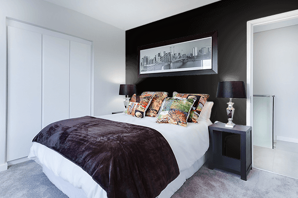 Pretty Photo frame on Fashion Black color Bedroom interior wall color