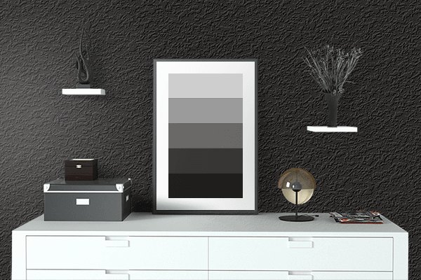 Pretty Photo frame on Fashion Black color drawing room interior textured wall