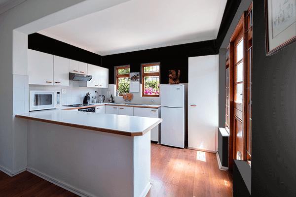 Pretty Photo frame on Fashion Black color kitchen interior wall color