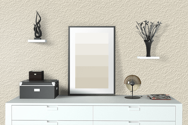 Pretty Photo frame on Warm White color drawing room interior textured wall