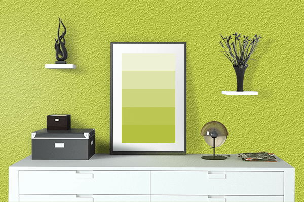Pretty Photo frame on Pear color drawing room interior textured wall